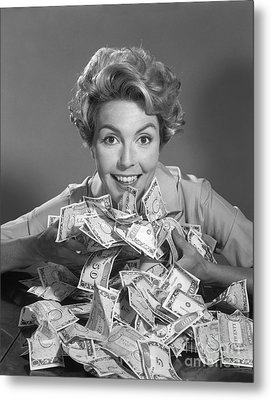 Woman With Money, C.1950-60s Metal Print
