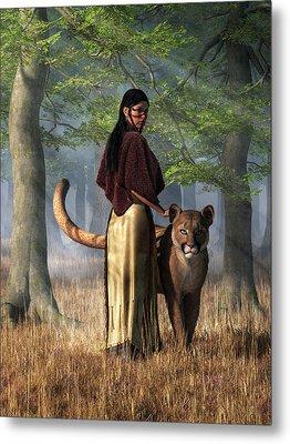 Metal Print featuring the digital art Woman With Mountain Lion by Daniel Eskridge