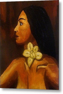 Woman With Orchid Metal Print by Mats Eriksson