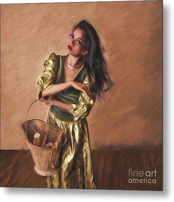 Woman With Pail  ... Metal Print by Chuck Caramella