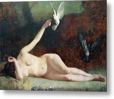 Woman With Pigeons Metal Print
