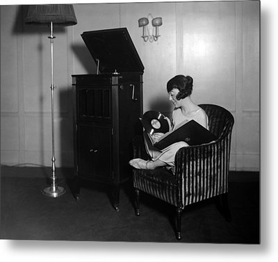 Woman With Record Albums And Victrola Metal Print by Everett