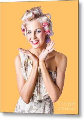 Woman With Rollers In Hair Metal Print