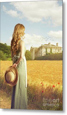 Woman With Straw Hat Metal Print by Amanda Elwell