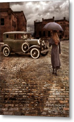 Woman With Umbrella By Vintage Car Metal Print