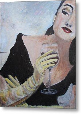 Woman With Wine Metal Print by Denice Palanuk Wilson