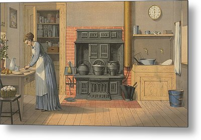 Woman Working In An Up-to-date Kitchen Metal Print by Everett