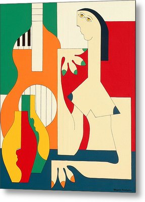 Women And Music Metal Print by Hildegarde Handsaeme
