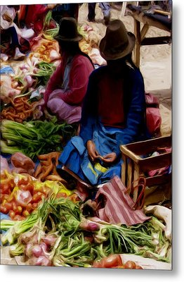 Metal Print featuring the painting Women At The Market by Shelley Bain