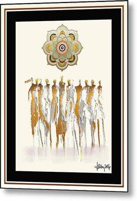 Women Chanting Mandala Metal Print by Larry Talley