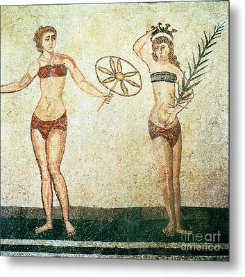 Women In Bikinis From The Room Of The Ten Dancing Girls Metal Print by Roman School