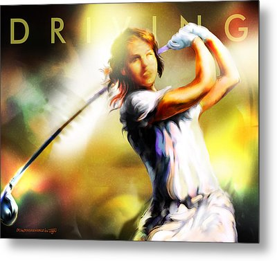 Women In Sports - Golf Metal Print by Mike Massengale