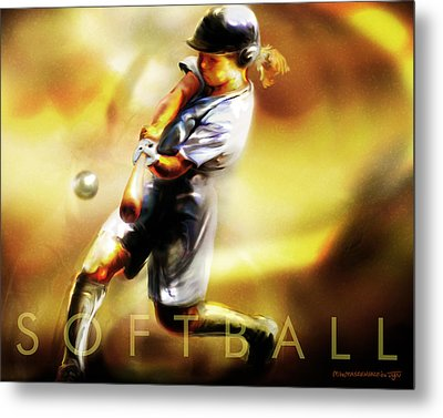 Women In Sports - Softball Metal Print