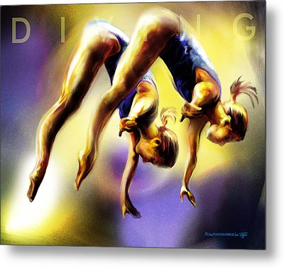 Women In Sports - Tandom Diving Metal Print