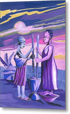 Metal Print featuring the painting Women Pounding Cassava by Emmanuel Baliyanga