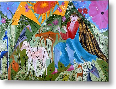 Metal Print featuring the painting Women Shepperd. by Sima Amid Wewetzer