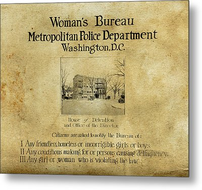 Women's Bureau House Of Detention Poster 1921 Metal Print by Tony Murphy