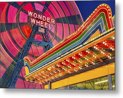 Wonder Wheel At Coney Island Metal Print by Susan Candelario