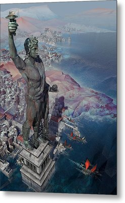 wonders the Colossus of Rhodes Metal Print