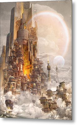 Metal Print featuring the digital art Wonders Tower Of Babylon by Te Hu