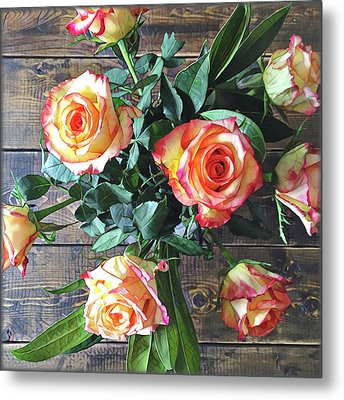 Wood And Roses Metal Print by Shadia Derbyshire