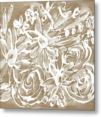 Wood And White Floral- Art By Linda Woods Metal Print by Linda Woods