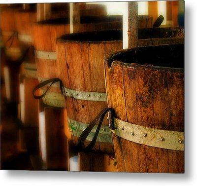 Wood Barrels Metal Print by Perry Webster