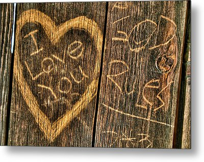 Wood Carving Graffiti Metal Print by Connie Cooper-Edwards