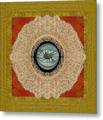 Wood Lace And Flowers Of Seed Popart Metal Print by Pepita Selles