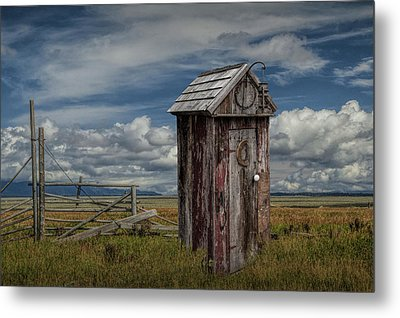 Wood Outhouse Out West Metal Print by Randall Nyhof