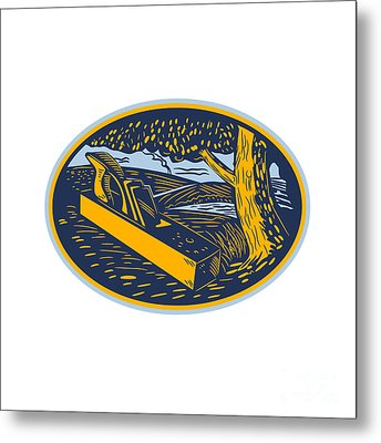 Wood Plane Forest Oval Woodcut Metal Print