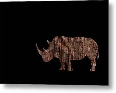 Wood Rhino Metal Print by Ernie Echols