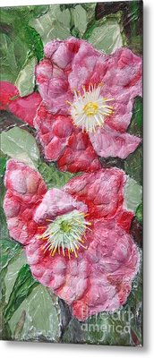 Metal Print featuring the painting Wood Roses by Terri Thompson