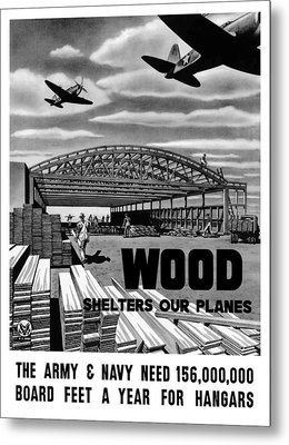 Metal Print featuring the painting Wood Shelters Our Planes - Ww2 by War Is Hell Store