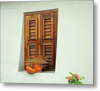 Metal Print featuring the photograph Wood Shuttered Window, Island Of Curacao by Kurt Van Wagner