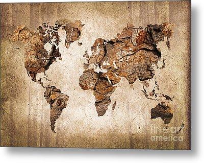 Wood World Map Metal Print