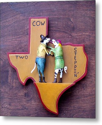 Woodcrafted 2 Cow Steppin' Metal Print by Michael Pasko