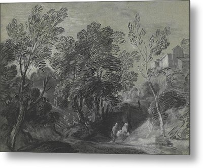 Wooded Landscape With Figures And Houses On The Hill Metal Print