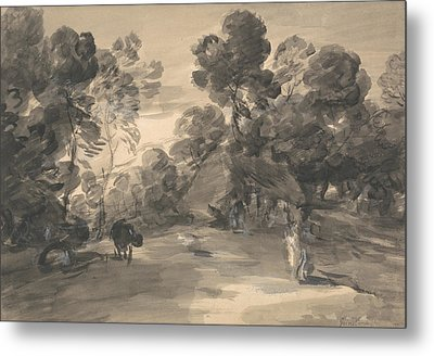 Wooded Landscape With Figures, Cottage And Cow Metal Print
