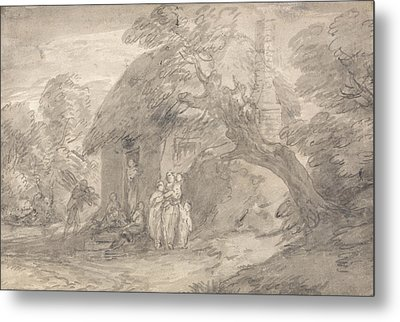 Wooded Landscape With Figures Outside A Cottage Door Metal Print