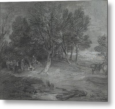 Wooded Landscape With Gypsy Encampment Metal Print