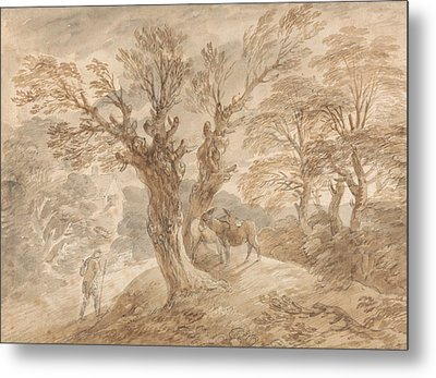 Wooded Landscape With Peasant And Donkeys Metal Print by Thomas Gainsborough