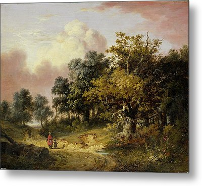 Wooded Landscape With Woman And Child Walking Down A Road  Metal Print by Robert Ladbrooke