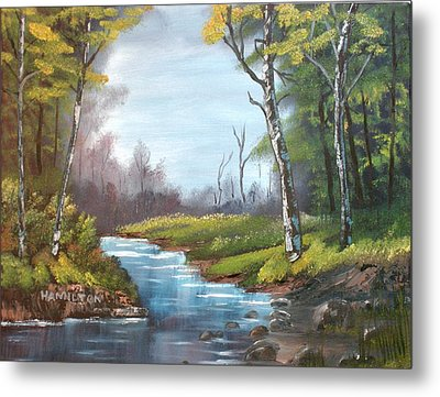 Wooded Stream Metal Print by Larry Hamilton