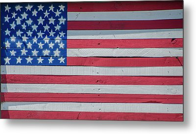 Metal Print featuring the photograph Wooden American Flag by Bill Cannon