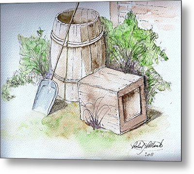 Wooden Barrel And Crate Metal Print