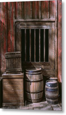 Wooden Barrels Metal Print