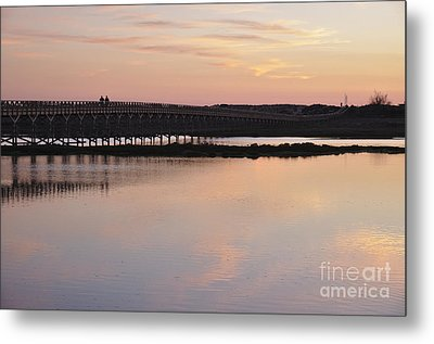 Wooden Bridge And Twilight Metal Print