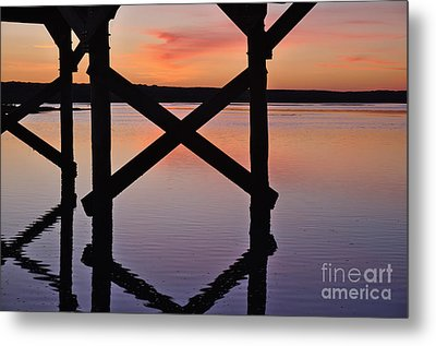 Wooden Bridge Silhouette At Dusk Metal Print