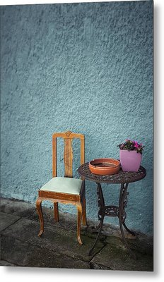 Wooden Chair And Iron Table Metal Print by Carlos Caetano